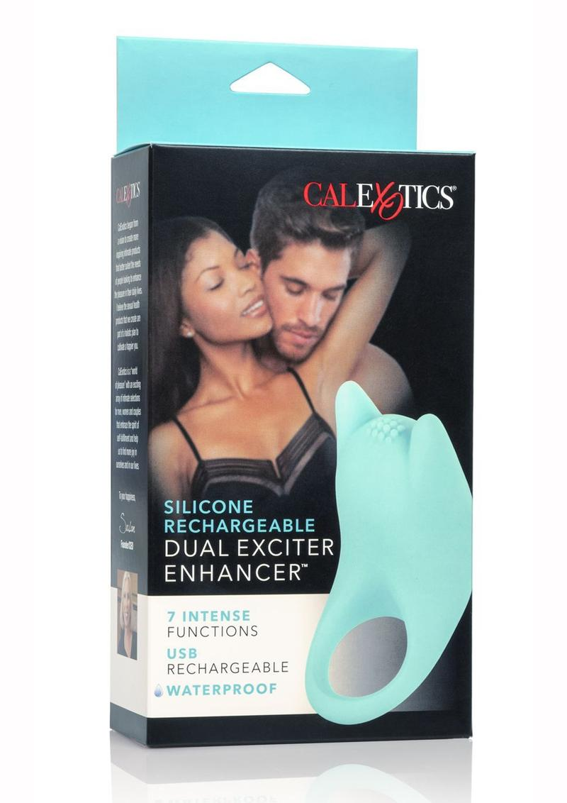 Silicone USB Rechargeable Dual Exciter Enhancer Ring Waterproof Teal