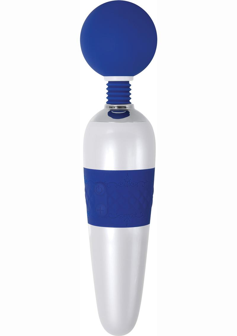 On The Dot Silicone USB Rechargeable Super Wand Waterproof Blue And White 11.25 Inches