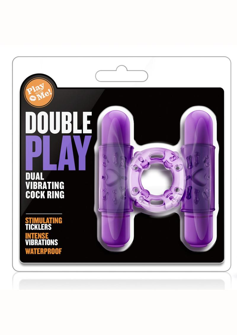 Play With Me Double Play Dual Vibrating Cock Ring Waterproof Purple