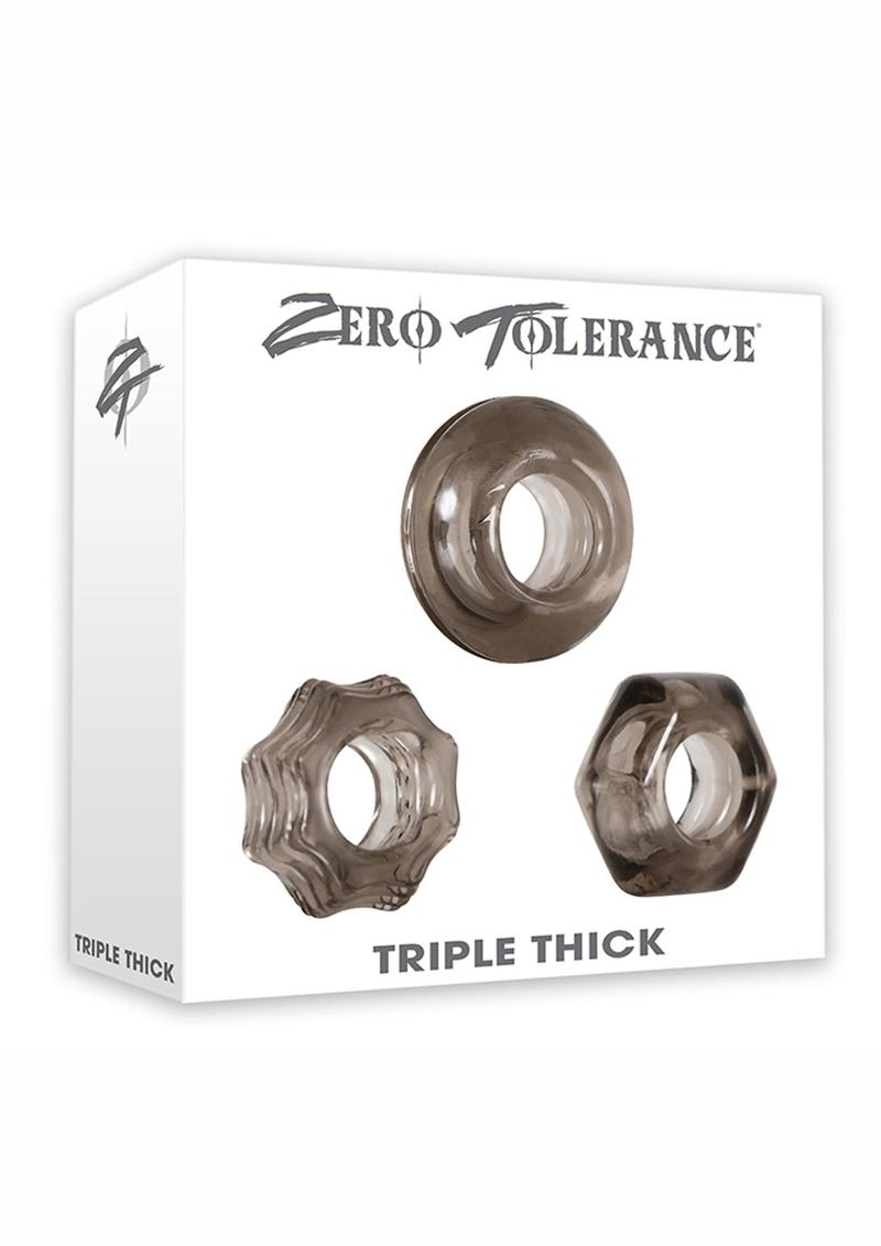 Zero Tolerance Triple Thick Cock Ring Set Rubber Waterproof Smoke 3 Shapes Per Set
