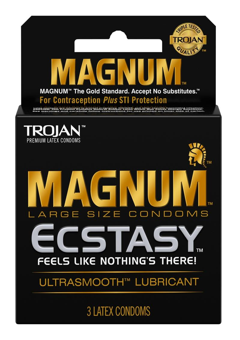 Trojan Magnum Ecstasy Ultra Smooth Lubricant Latex Condoms 3-Pack