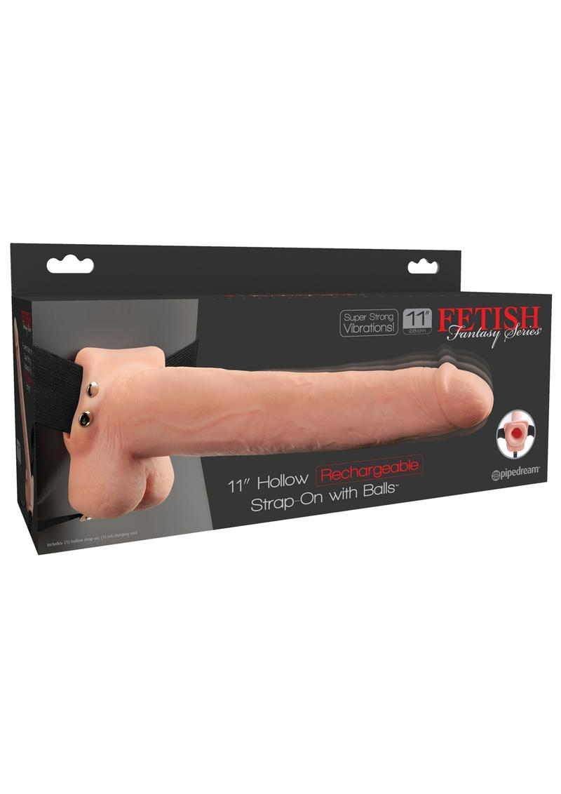Fetish Fantasy Hollow Rechargeable Strap-On With Balls Flesh 11 Inches