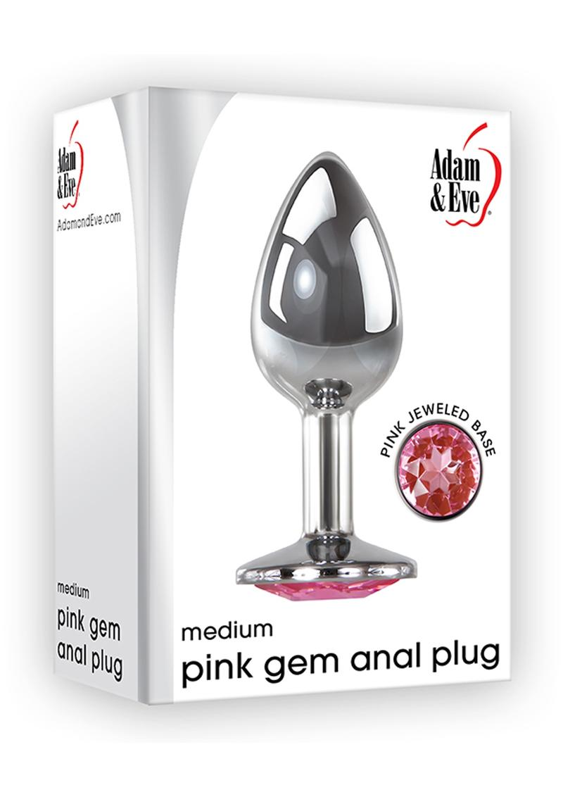 Adam and Eve Pink Gem Anal Plug Medium Non Vibrating