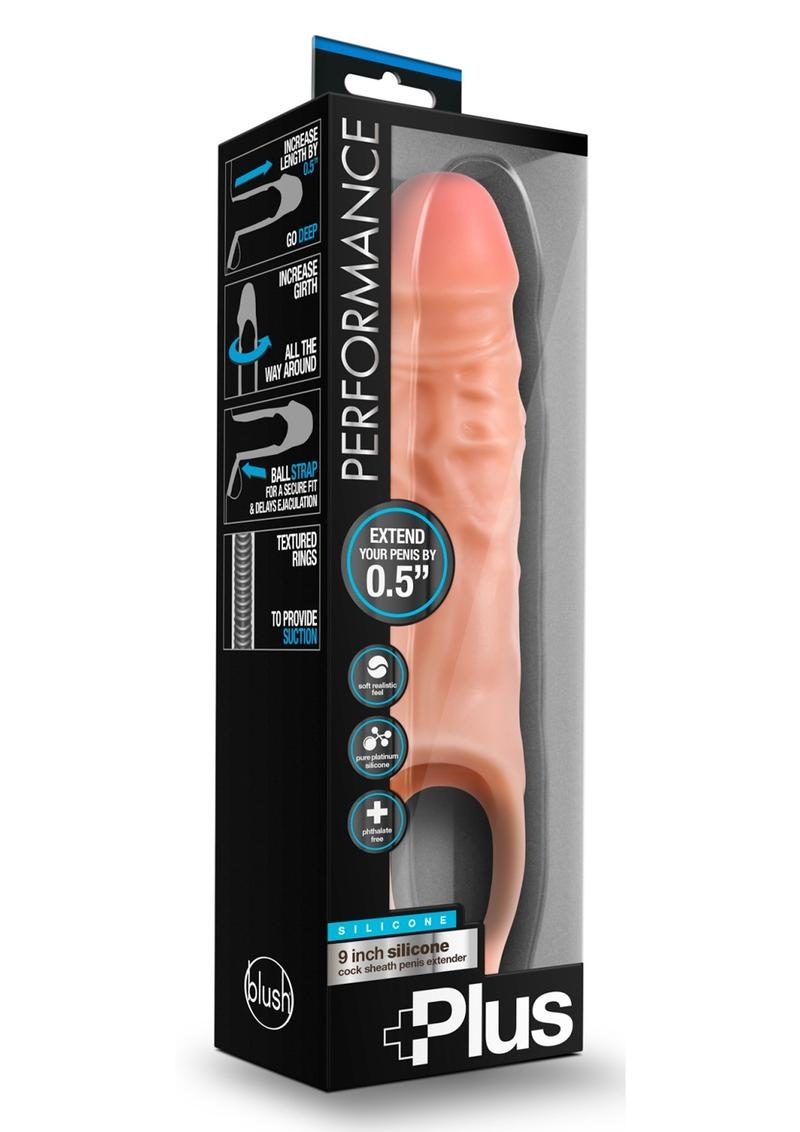 Perform Plus Cock Sheath Penis  Extender 9 inch Silicone Flesh