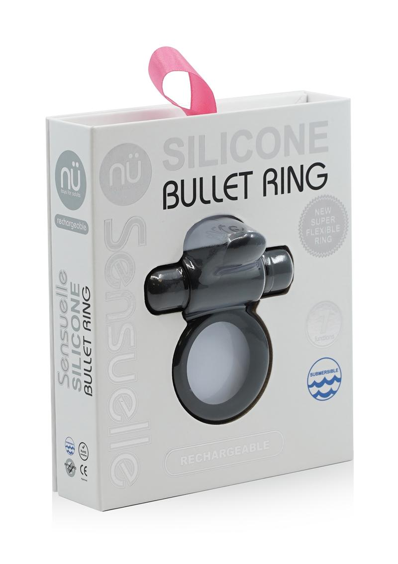 Sensuelle Silicone Bullet Ring With Clit Stimulator Rechargeable Multi Speed Black
