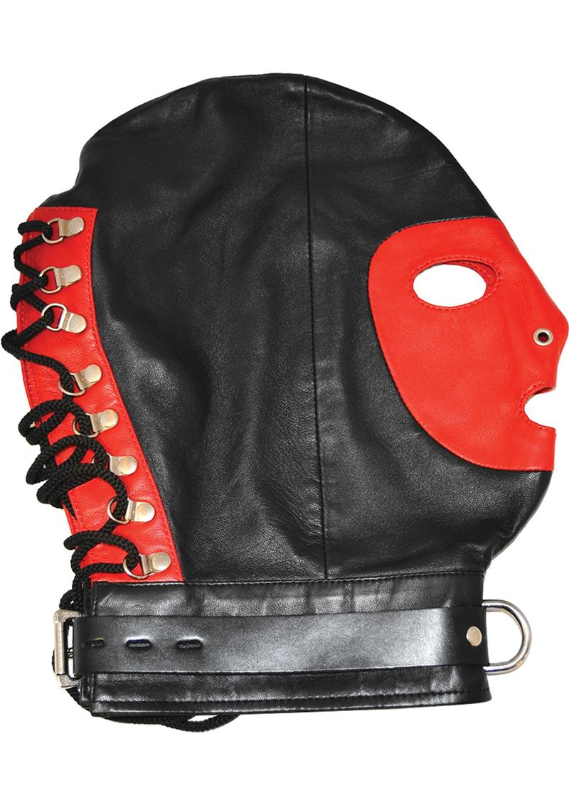 Rouge Mask With D Ring And Lock Strap Leather And Metal Black And Red