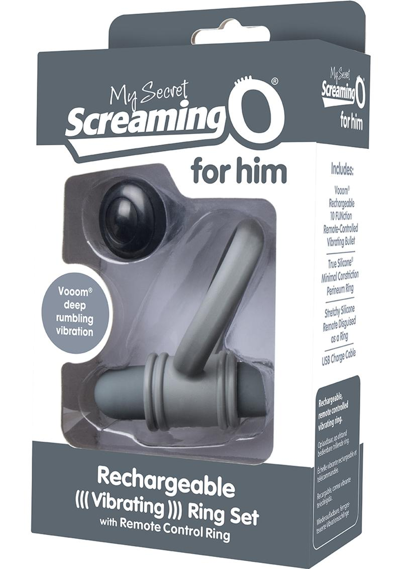 My Secret USB Rechargeable Vibrating Silicone Cock Ring Set For Him Waterproof Grey