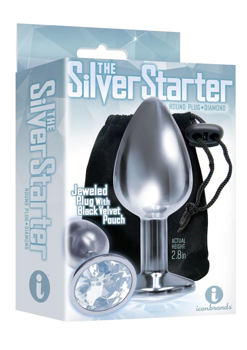 The Silver Starter Jeweled Round Plug Stainless Steel Clear 2.8 Inch