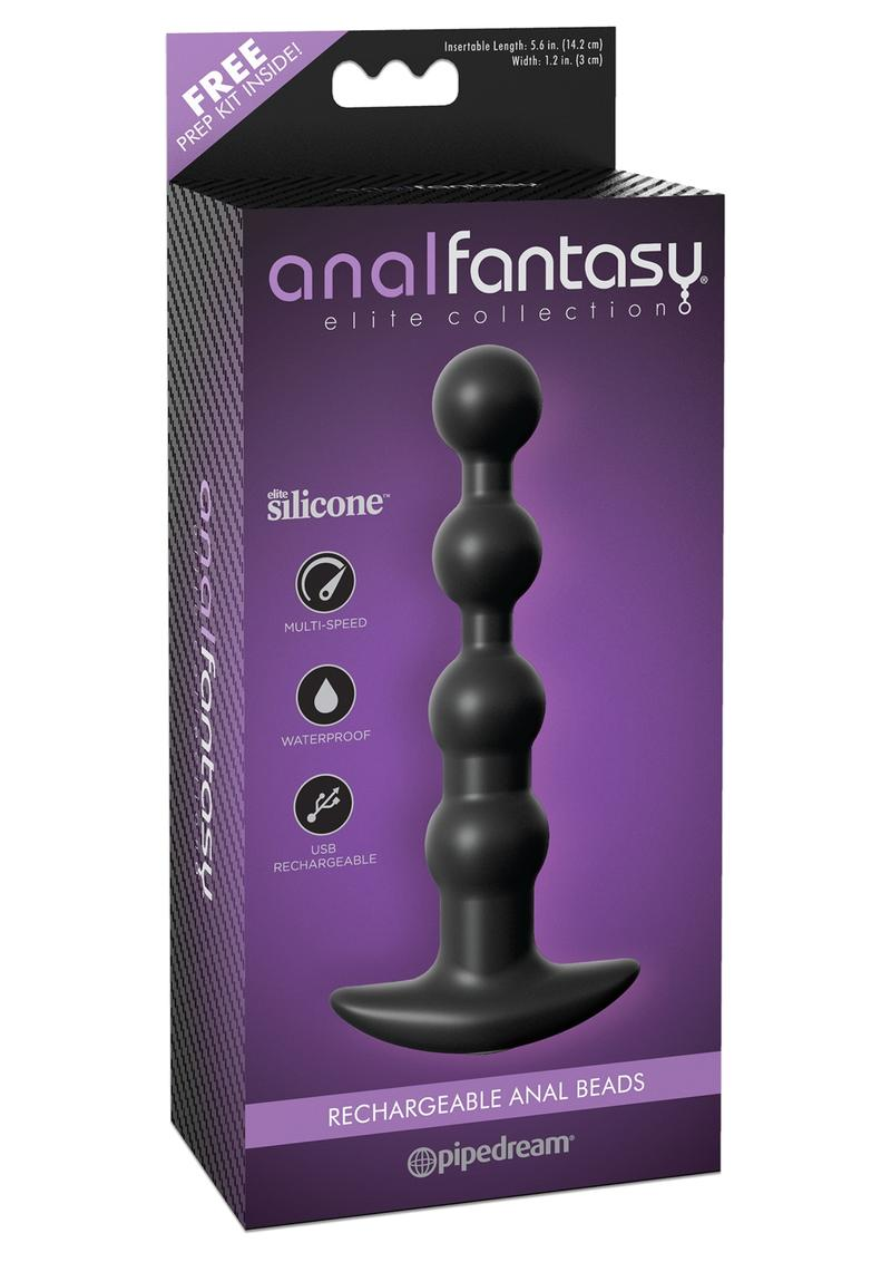 Anal Fantasy Elite Silicone Rechargeable Anal Beads Waterproof Black