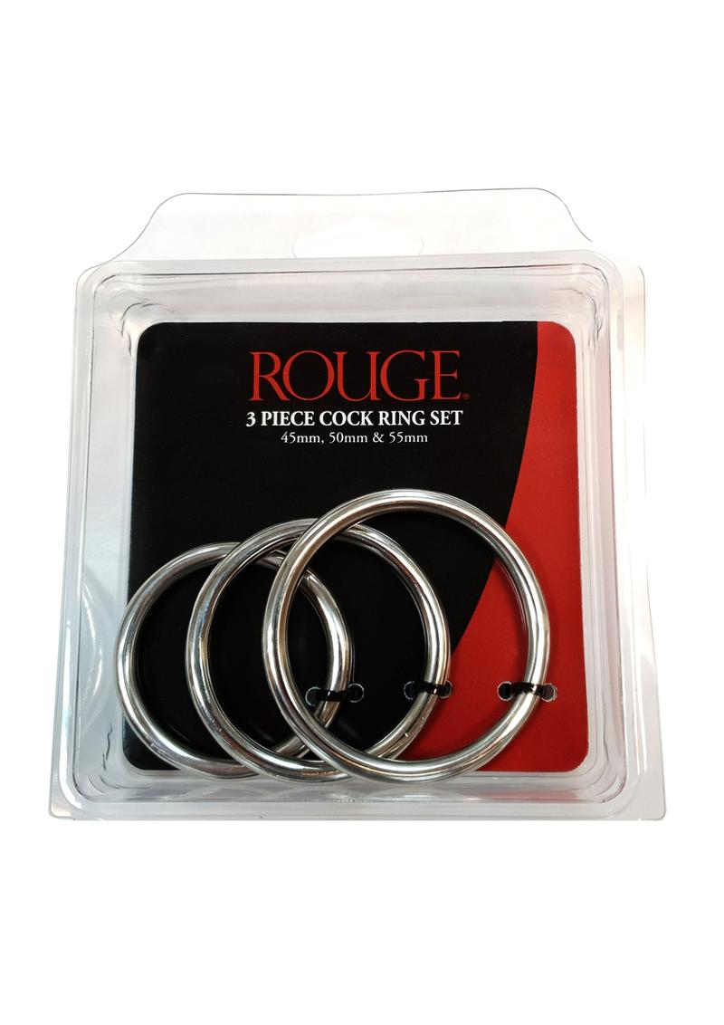 Rouge 3 Piece Cock Ring Set Stainless Steel