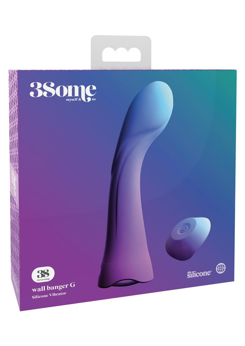 Threesome Wall Banger G Silicone Vibrator USB Rechargeable Wireless Remote Splashproof Purple