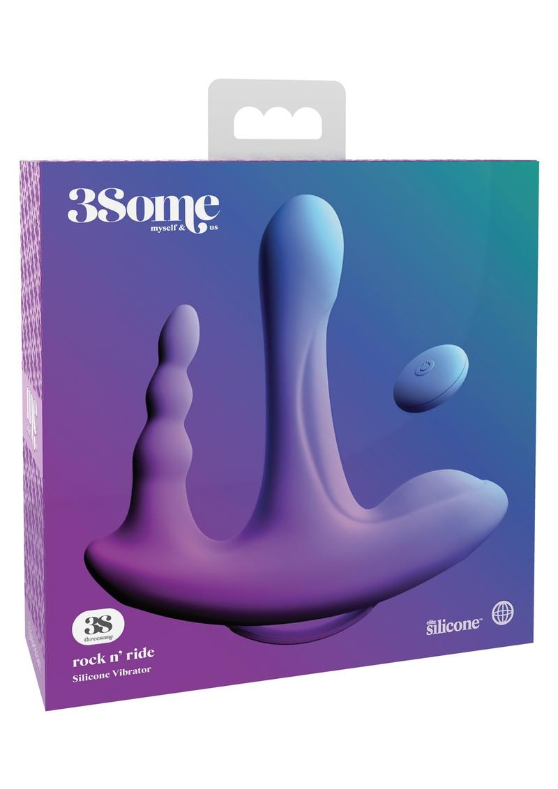 Threesome Rock N Ride Silicone Vibrator multi Speed USB Rechargeable  Splashproof Purple
