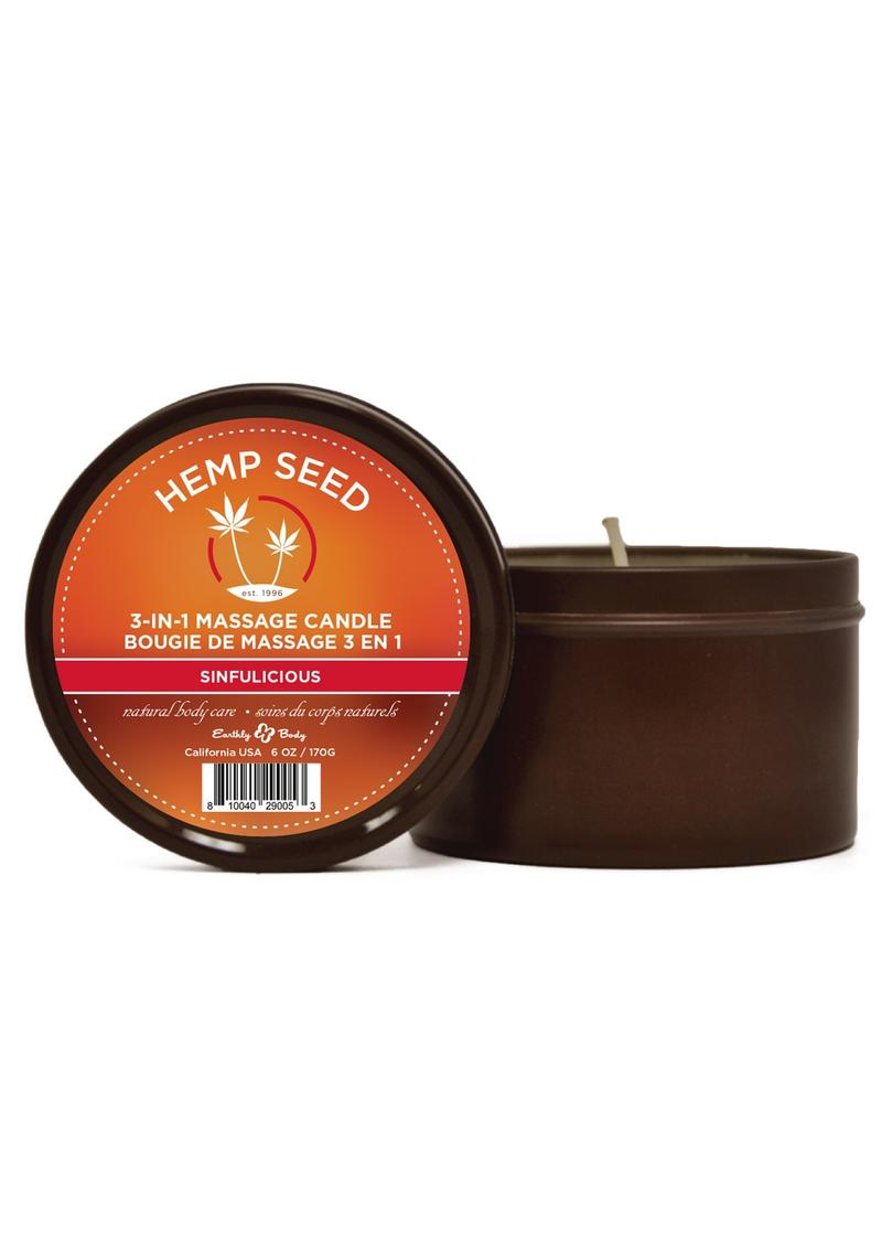 Earthly Body Hemp Seed 3 In 1 Massage Candle - Sinfulicious 6oz
