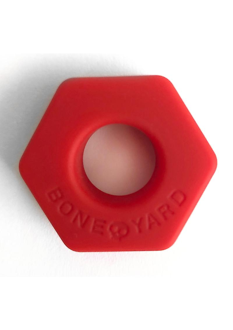Bone Yard Bust A Nut Silicone Cock Ring Ball Stretcher Red