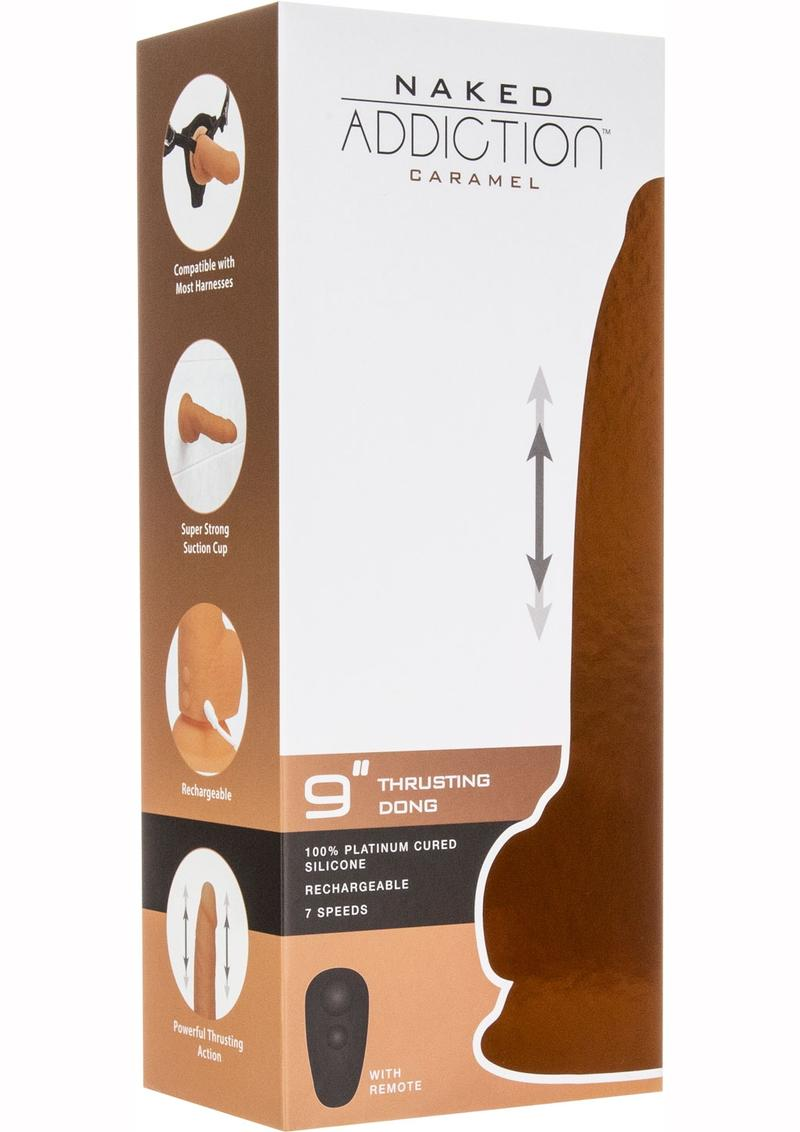 Naked Addiction Silicone Rechargeable Thrusting Dildo 9in - Caramel