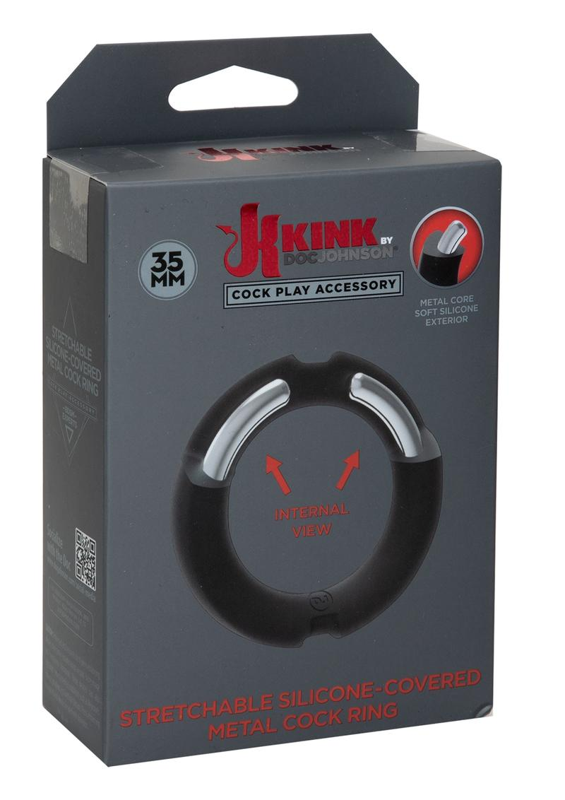 Kink Stretchable Silicone-Covered Metal Cock Ring - 35mm - Black