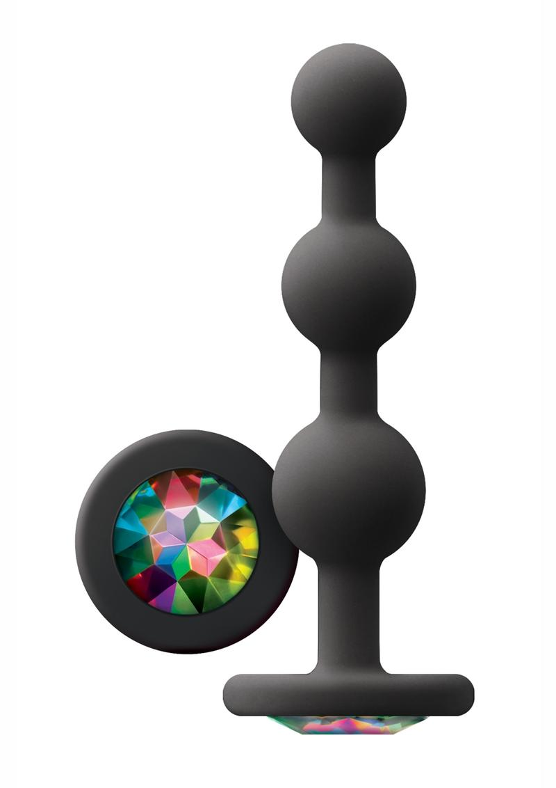 Glams Ripple Silicone Plug Rainbow Gem 4.49in - Black