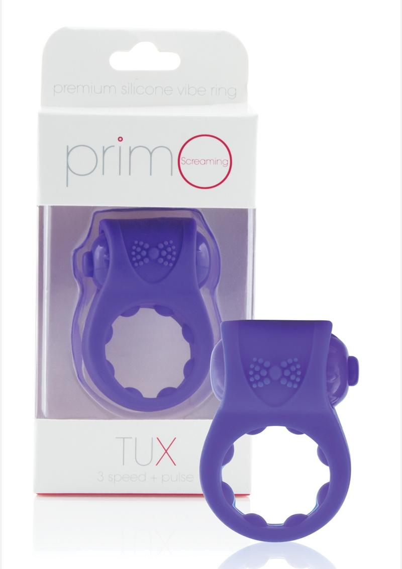 Primo Tux Silicone Vibrating Ring - Purple