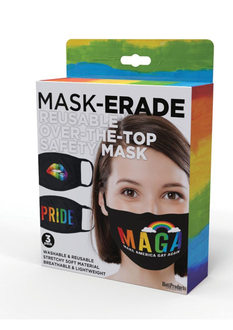 Maskerade Protective Mask Pride (Pride/ Gay Again/ Rainbow Kiss) 3 Per Pack - Black