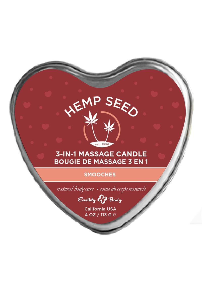 Earthly Body Hemp Seed 3 in 1 Heart Massage Candle Smooches 4oz