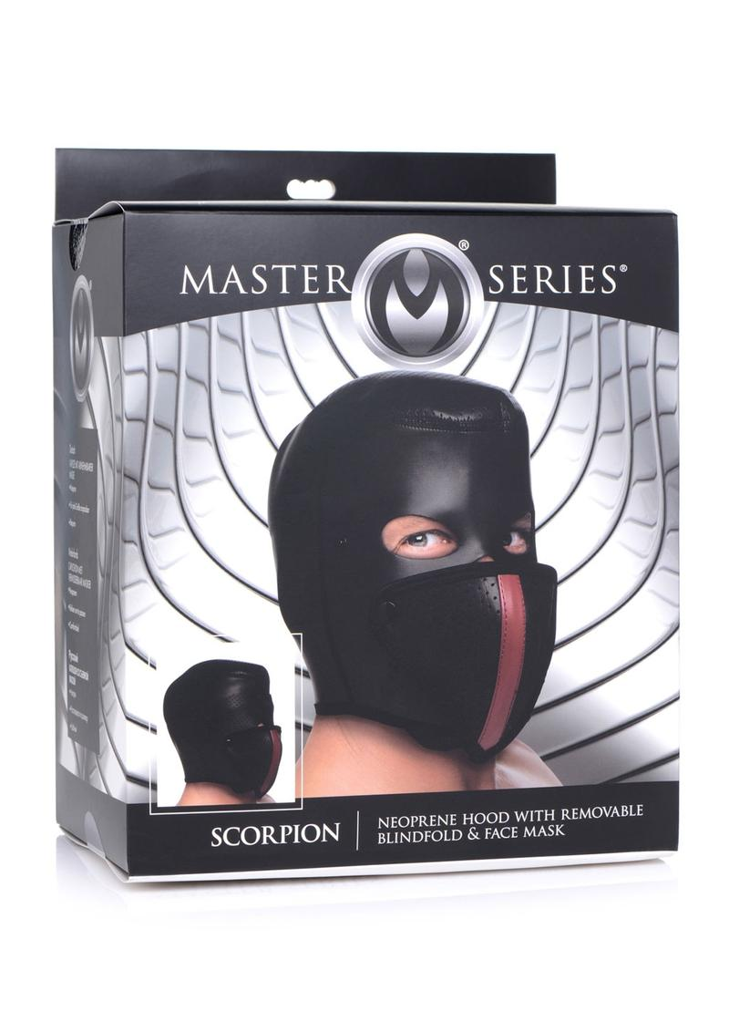 Master Series Scorpion Hood With Removable Blindfold And Face Mask - Black/Red