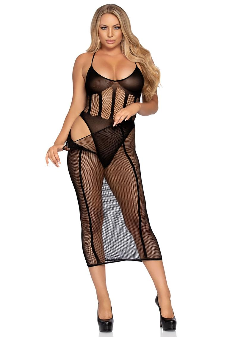 Leg Avenue Net And Opaque Bodysuit And Matching Skirt (2 Piece) - O/S - Black