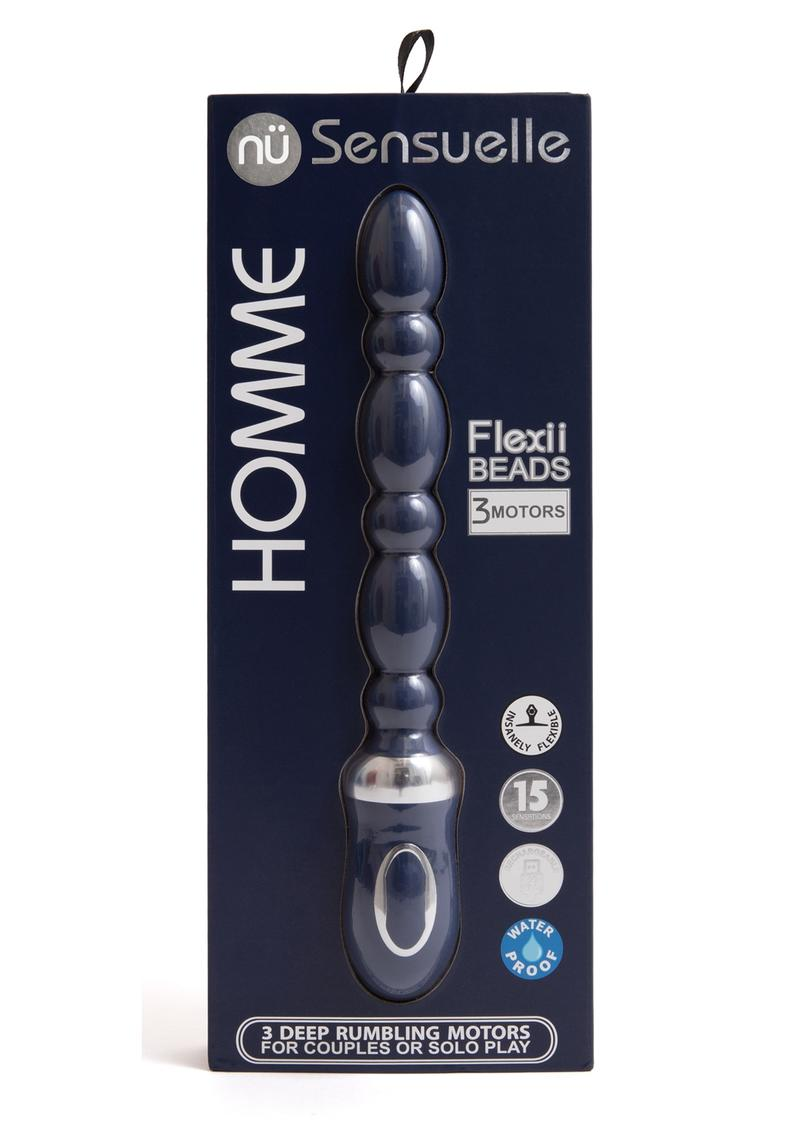 Sensuelle Homme Flexii Beads Silicone Rechargeable Probe - Navy Blue/Silver