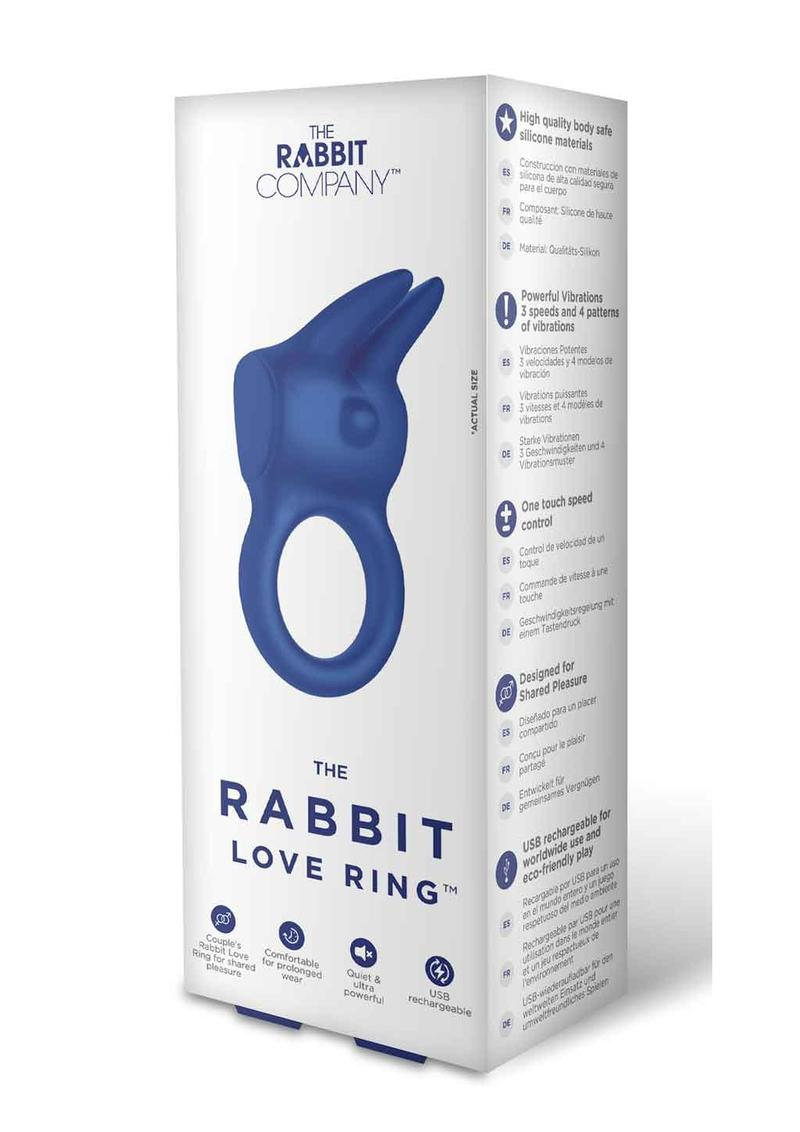The Rabbit Love Ring Rechargeable Silicone Couples Ring - Black