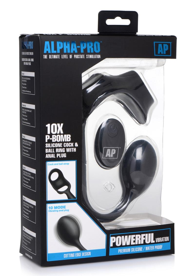 Alpha Pro 10X P-Bomb Silicone Rechargeable Cock andamp; Ball Ring With Plug And Remote Control - Black