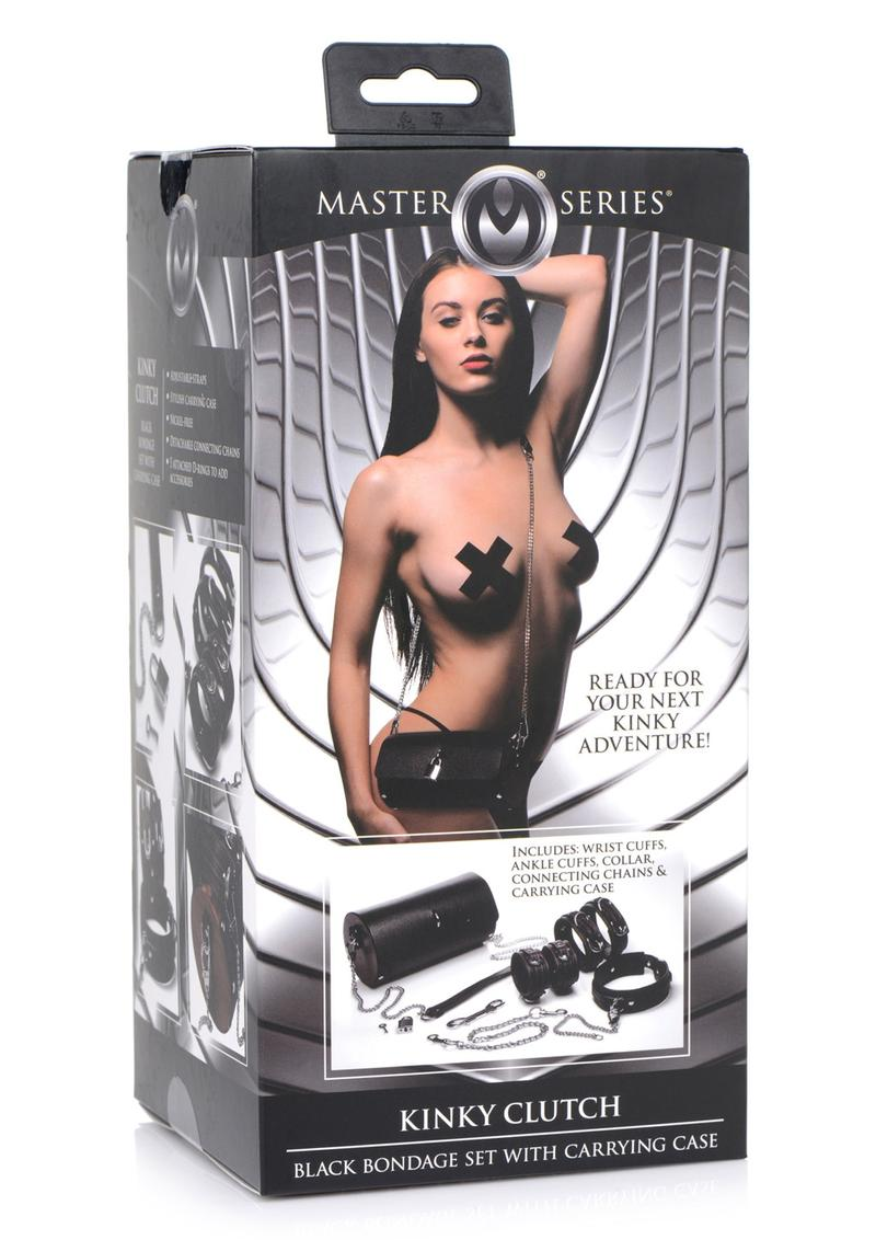 Master Series Kinky Clutch Bondage Set With Carrying Case - Black/Brown