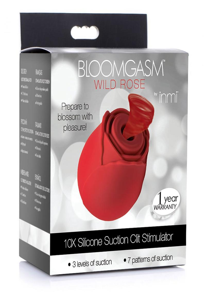 Inmi Bloomgasm Wild Rose 10x Silicone Rechargeable Licking Clit Stimulator - Red