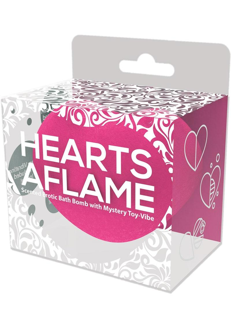 Hearts Aflame Scented Erotic Lovers Bath Bomb With Mystery Vibrating Toy - Pink