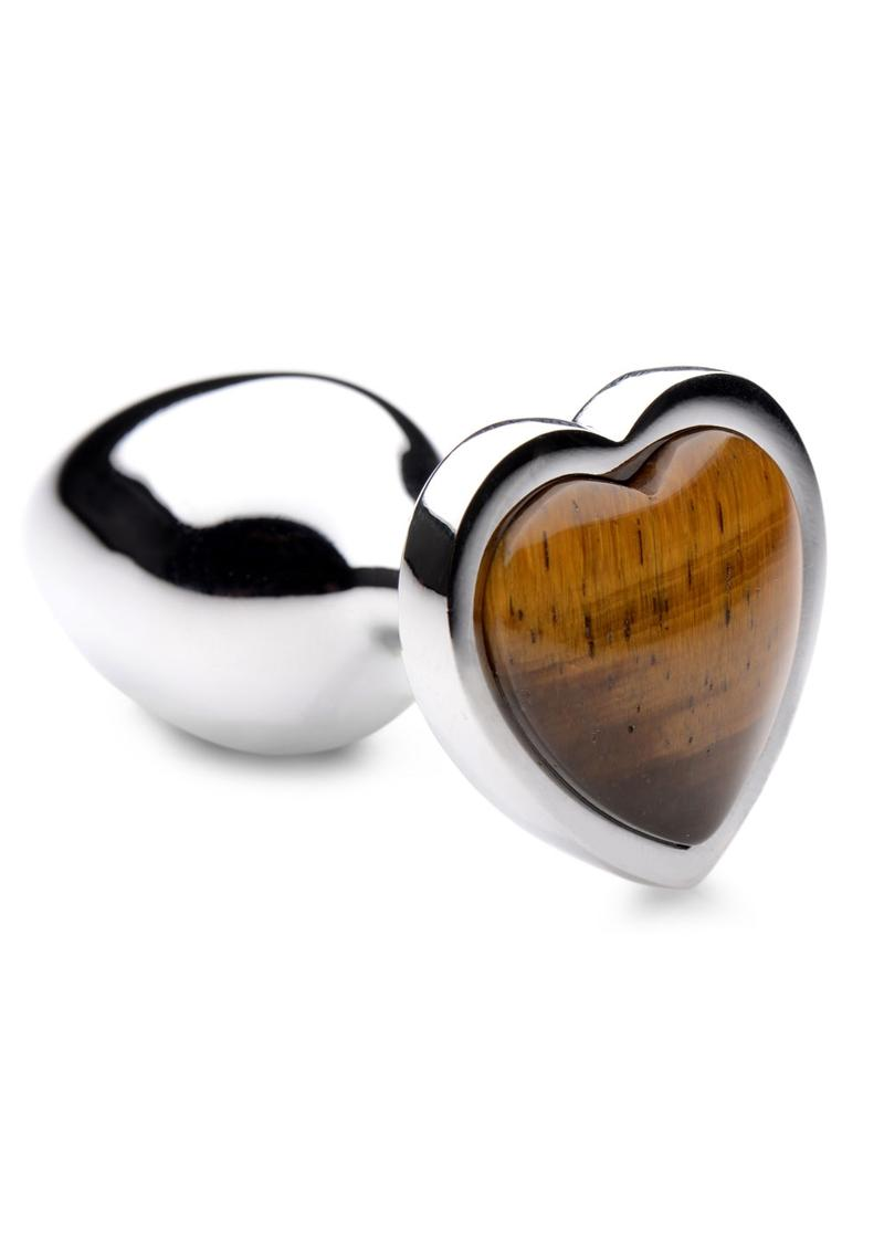 Booty Sparks Gemstones Tiger Eye Heart Anal Plug - Small - Brown/Silver