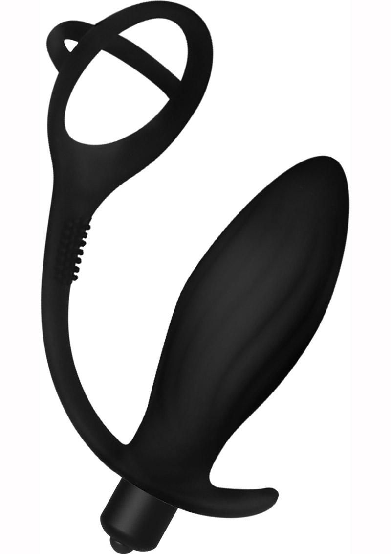 Decadence Ball Buster Silicone Vibrating Butt Plug With Cock Ring - Black