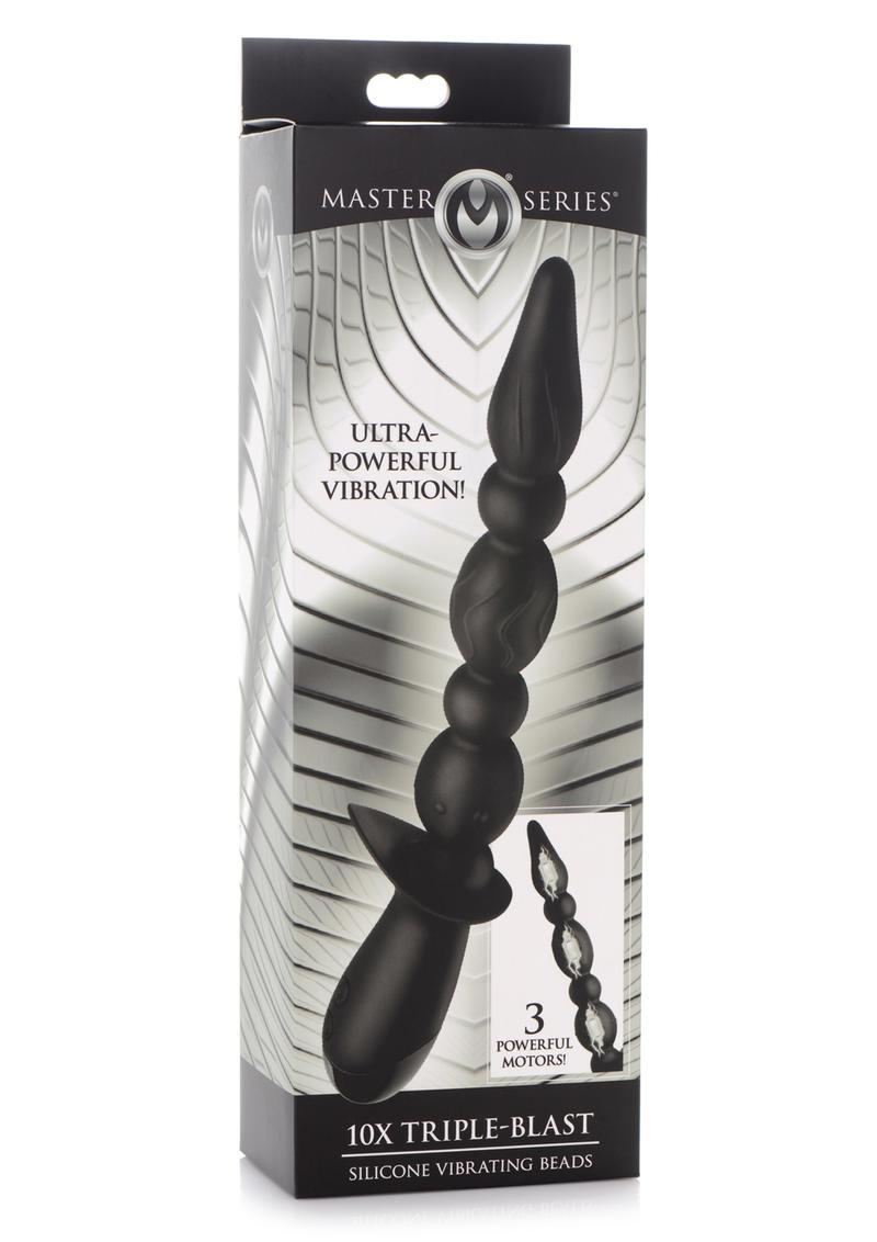 Master Series 10x Triple Blast Silicone Rechargeable Vibrating Anal Beads - Black