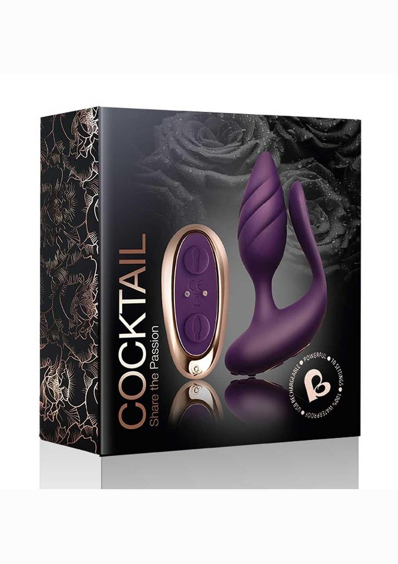 Cocktail Rechargeable Silicone Couples Vibrator With Remote Control - Purple/Rose Gold