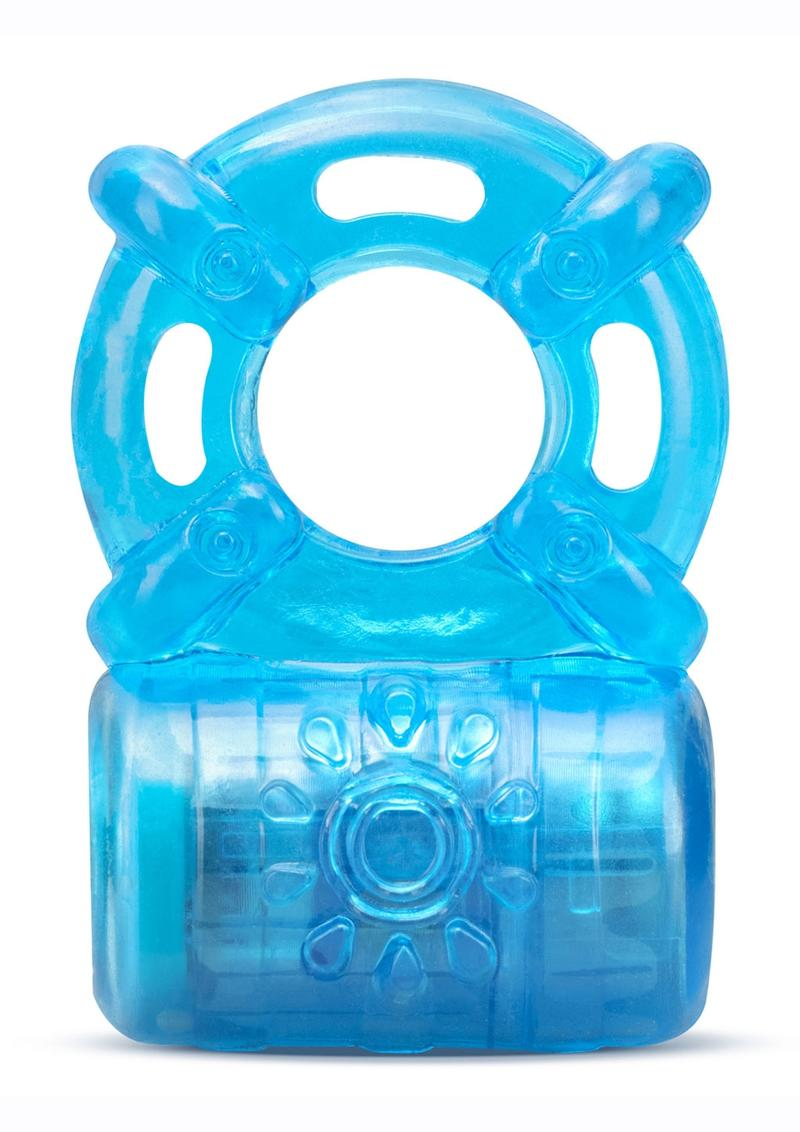 Stay Hard Rechargeable 5 Function Cock Ring - Blue
