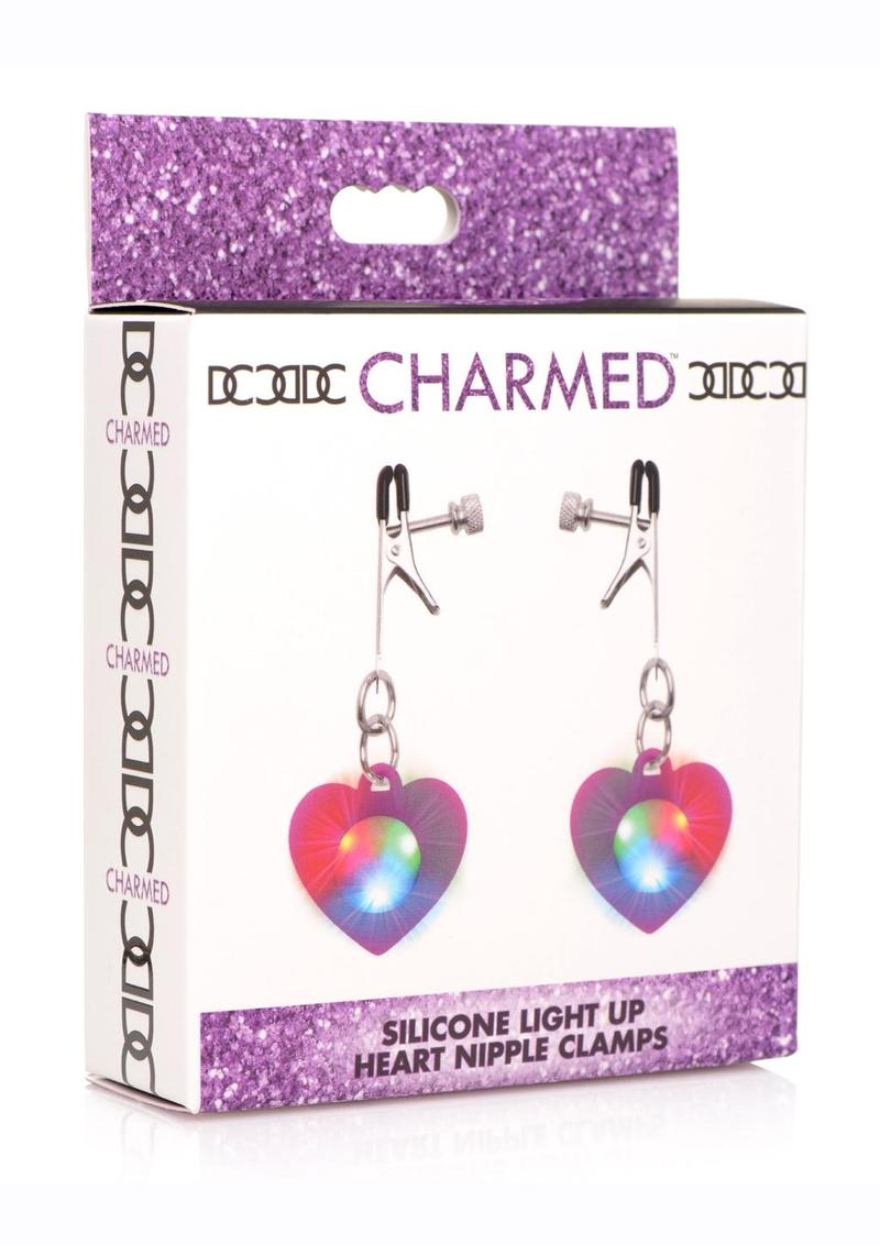 Charmed Silicone Light-Up Heart Nipple Clamps - Purple